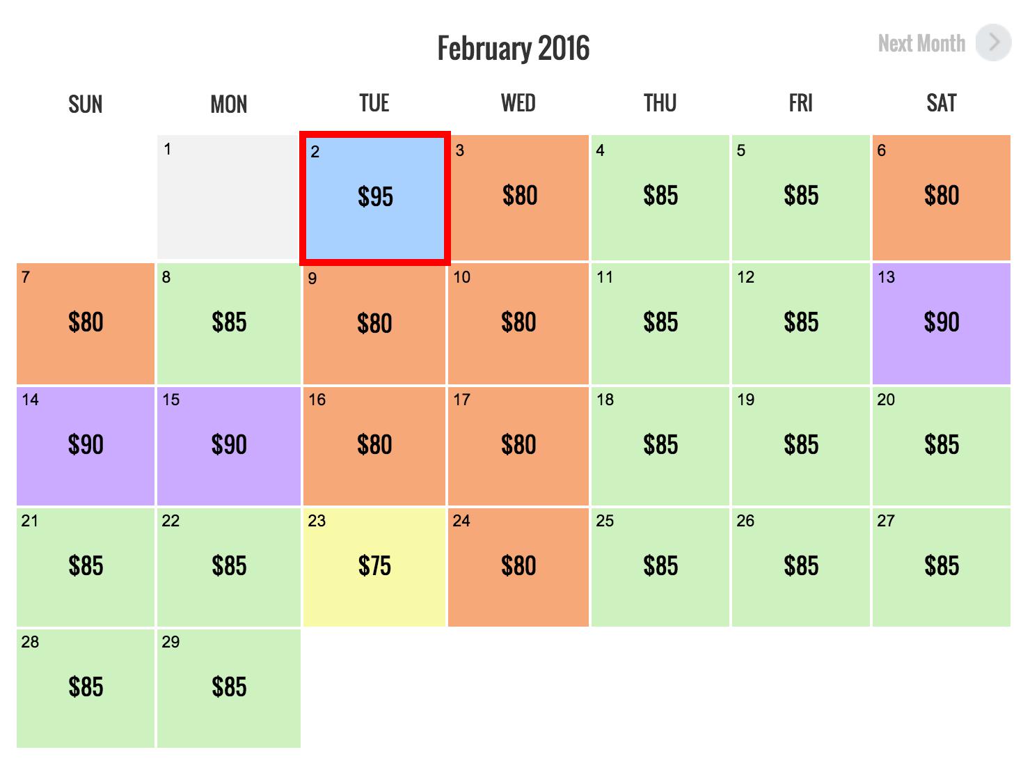 Sample Universal Hollywood Demand Pricing Chart