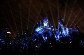 Hogwarts Castle projection show at The Wizarding World of Harry Potter