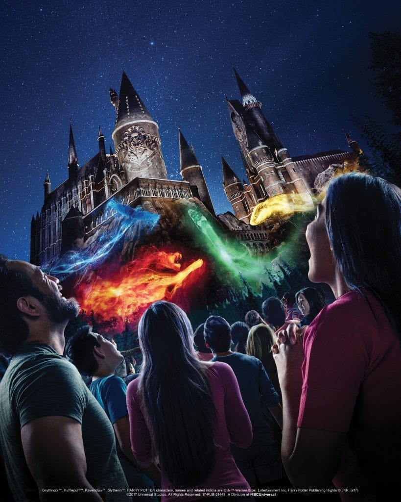 Concept art for The Nighttime Lights at Hogwarts Castle in The Wizarding World of Harry Potter at Universal Studios Hollywood