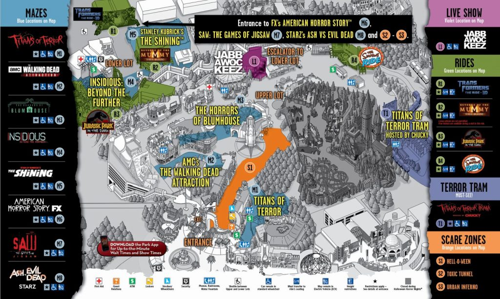 Universal Studios's Halloween Horror Nights 2017 map