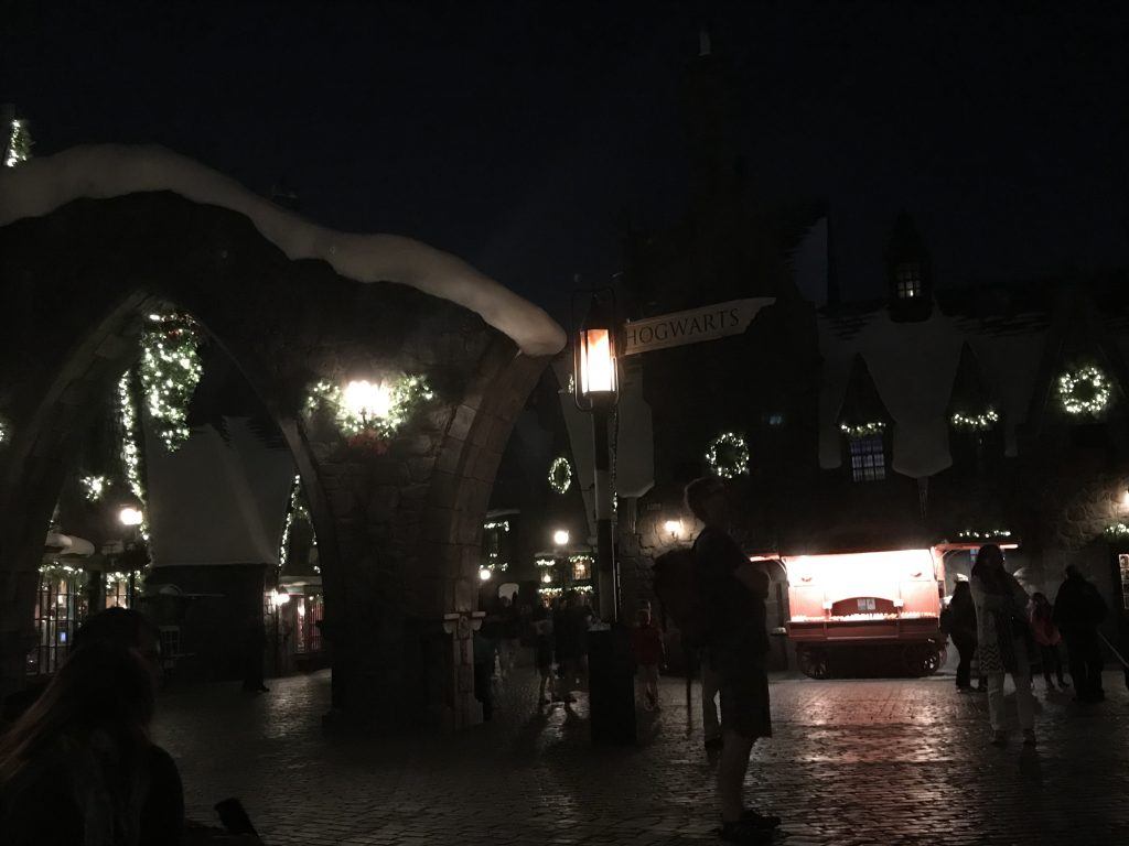 Hogsmeade decorations in Christmas in The Wizarding World of Harry Potter